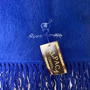 Alpaca Camargo alpaca long royal blue scarf with fringe
